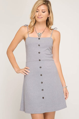 Button Down Summer Dress - Gray