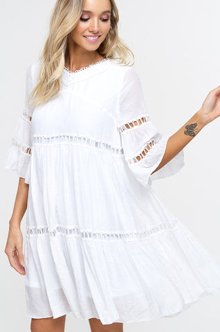 Babydoll Boho Dress - Ivory