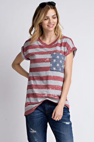 Vintage American Flag Roll Sleeve Top