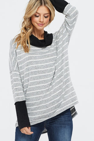 Cowl Neck Striped Top - Black