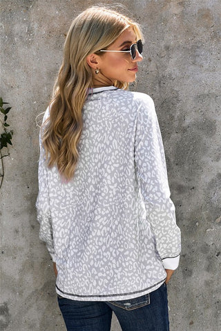 Long Sleeve Leopard Print Top - Gray