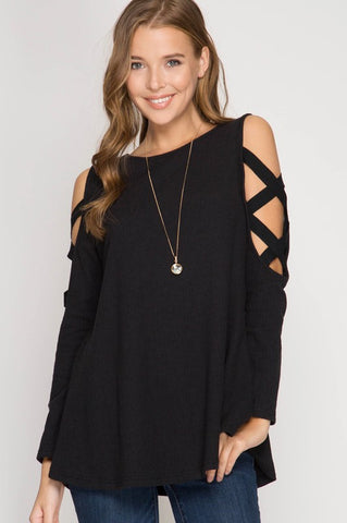 Criss Cross Detailed Sleeves -  Black