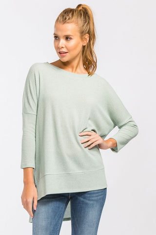 High Low Casual Top - Sage