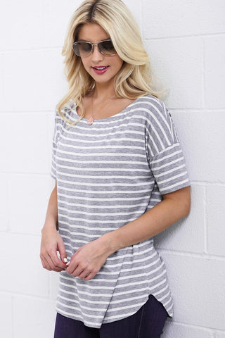 Striped Half Sleeve Top - Gray