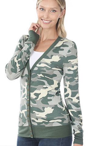 Snap Up Cardigan - Camo