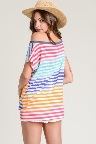 Rainbow Striped Tie Top