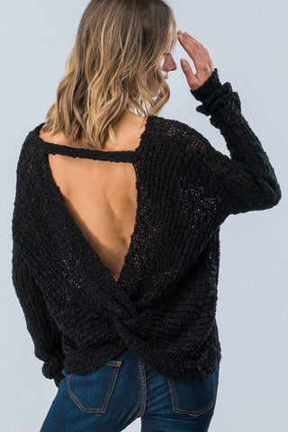 Twist Back Sweater - Black