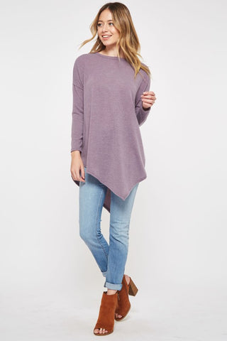 Asymmetrical Sweater Tunic Top - Purple