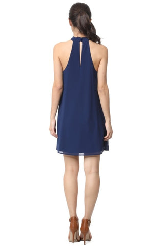 Front Knot Halter Dress - Navy