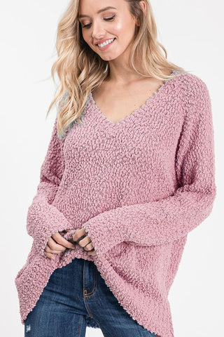 Popcorn V-Neck Sweater - Mauve