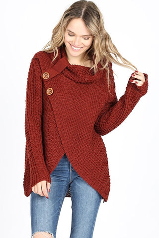 Cool Night Criss Cross Sweater -  Fired Brick