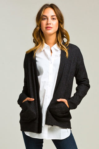 Simple Cardigan with Pocket - Charcoal