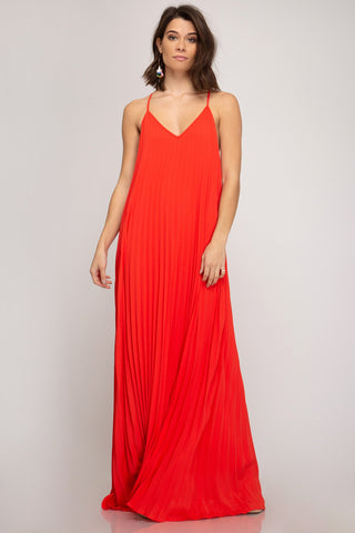 Pleated Maxi Dress - Tomato
