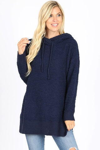 Popcorn Hooded Sweater - Navy