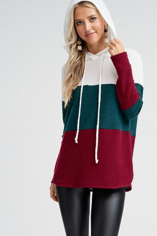 Soft Waffle Weave Color Block Hoodie - Hunter Green