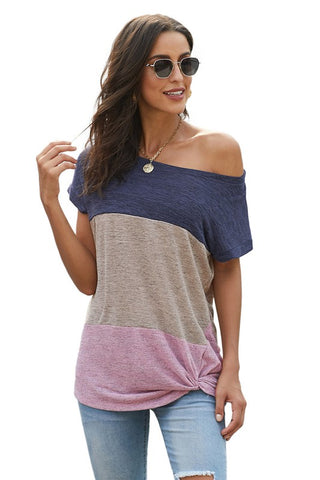 Color Block Twist Tee - Purple