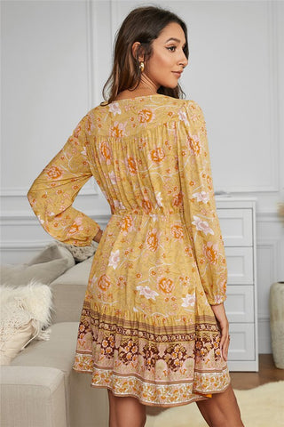 Boho Balloon Sleeve Dress - Yellow