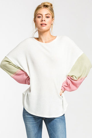 Color Block Baloon Sleeve Top - White