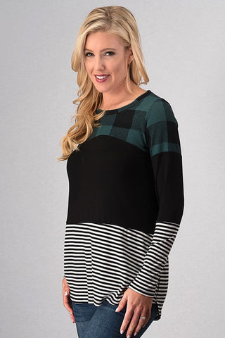 Color Block Buffalo Plaid Top - Teal