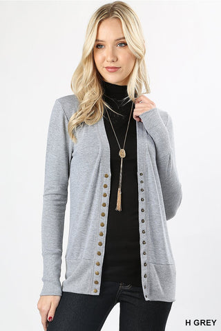 Snap Up Cardigan - Heather Gray