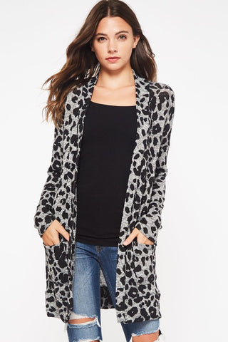 Leopard Print Cardigan - Heather Grey