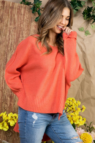 High Low Sweater - Coral