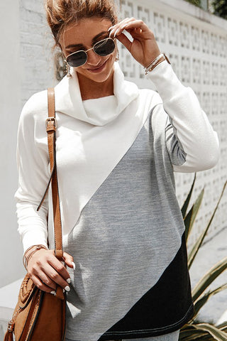 Coffee Date Color Block Cowl Neck Top - White