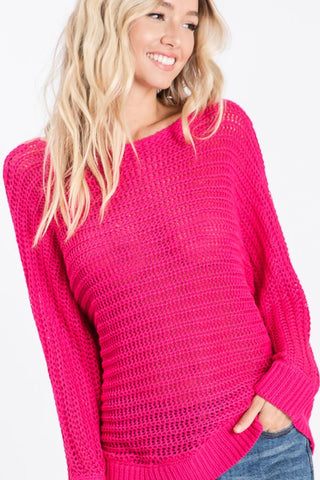 Loose Knit Lightweight Sweater - Fuchsia