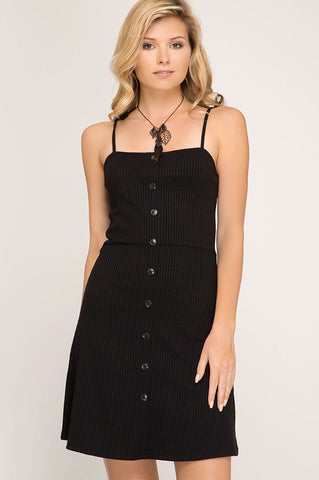 Button Down Summer Dress - Black