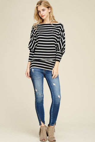 Off Shoulder Striped Dolman Top - Black and White