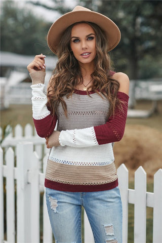 Cold Shoulder Striped Sweater - Red and Grey