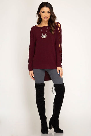 Autumn Getaway Strappy Sleeve Top - Wine