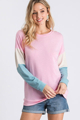 Color Block Pastel Top - Light Pink