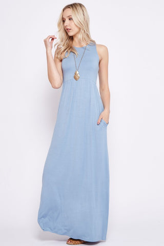 Solid Racerback Maxi Dress - Blue