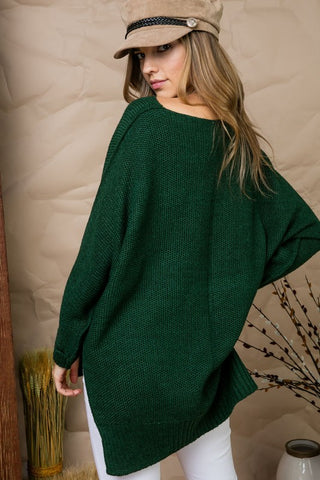High Low Sweater - Hunter Green