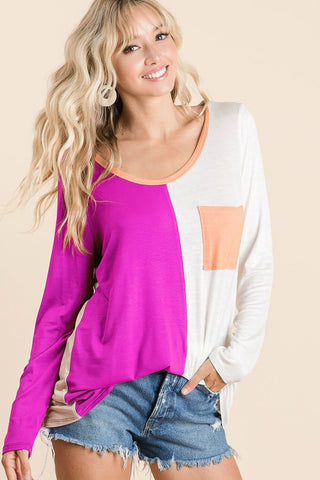 Color Block Top with Patch Pocket - Fuchsia