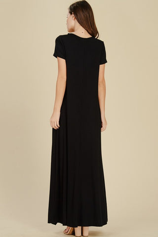 Short Sleeve Flowy Maxi Dress - Black