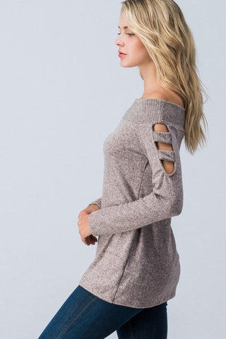 Off Shoulder Sweater with Cut Out Sleeves - Pink