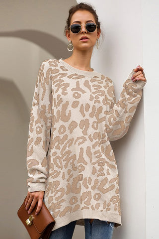 Oversized Leopard Print Sweater - Taupe