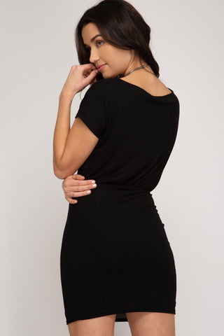 Fitted Dress with Sash - Black