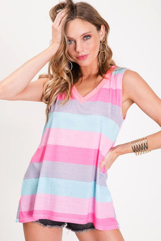 Rainbow Sleeveless Top - Shades of Cotton Candy