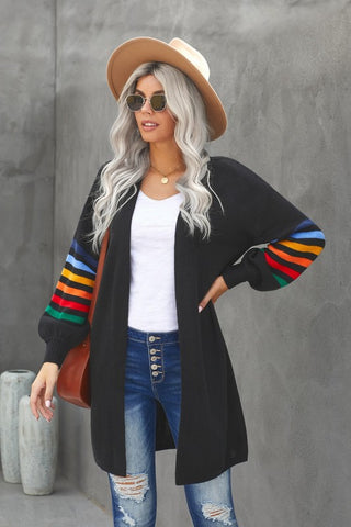 Long Balloon Rainbow Sleeve Cardigan - Black