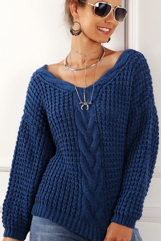 V-Neck Cable Knit Sweater - Blue