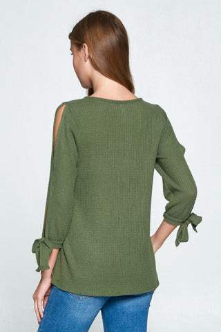 Waffle Weave Tie Sleeve Top - Olive