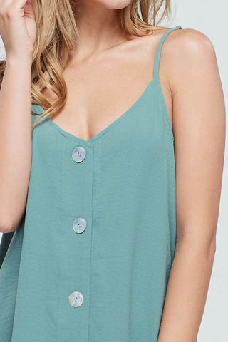 Beach Ready Button Down Dress with Straps - Sage