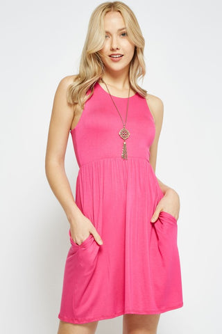 Simple Summer Dress - Hot Pink