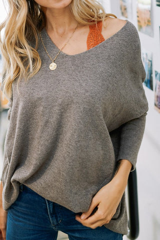 Luxe V-Neck Sweater - Mocha