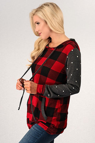 Plaid and Polka Dot Hoodie - Red