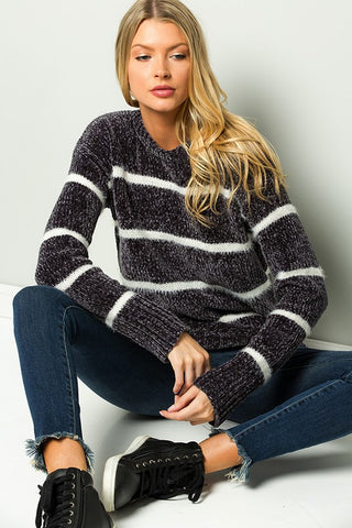 Velvet Cloud Chenille Striped Sweater - Charcoal