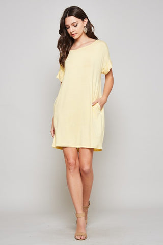 Casual Shift Dress - Yellow